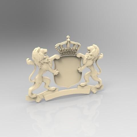 Download free 3D printing designs Lion blason , 3Dprintablefile