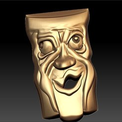 Free 3D print files drunk weird mask art cnc, 3Dprintablefile