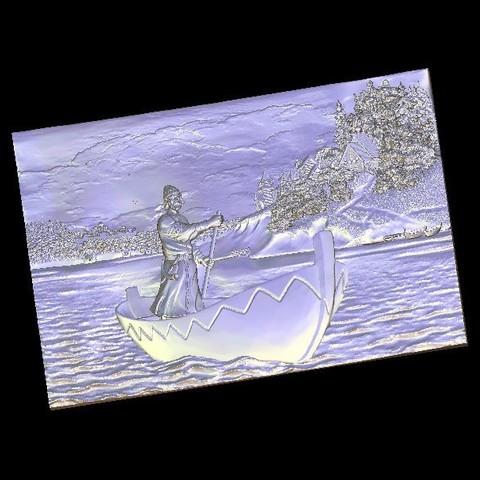 Download free 3D model Man on a boat, 3Dprintablefile