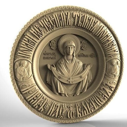 Download free 3D printing files Bogoroditsa_v_kruge religious image cnc stl, 3Dprintablefile