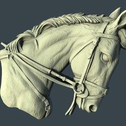 Download free STL horse bust medal cnc art, 3Dprintablefile