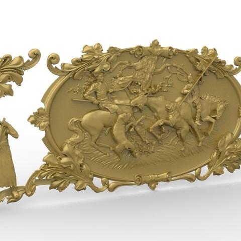 Descargar STL gratis Caza escena alce ciervo caballo, 3Dprintablefile