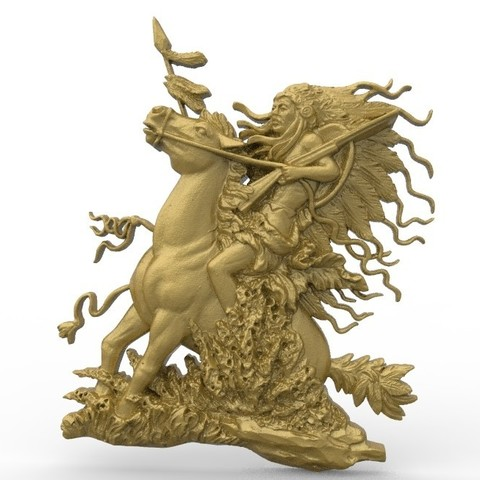 Download free 3D printer templates Native american warrior indian on a horse, 3Dprintablefile