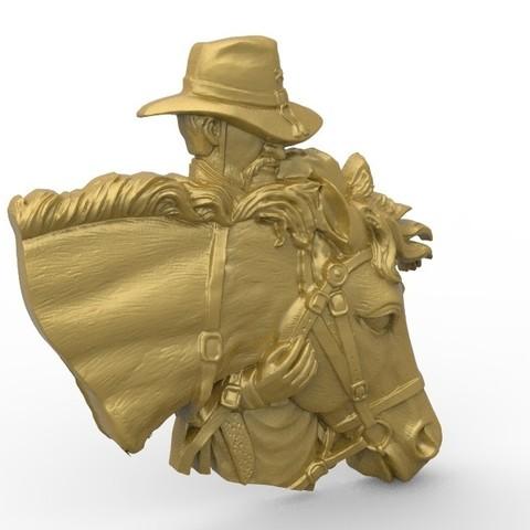 Descargar archivo 3D gratis vaquero con su busto de caballo, 3Dprintablefile
