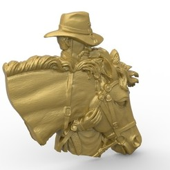 Download free 3D printing files cowboy with his horse bust, 3Dprintablefile