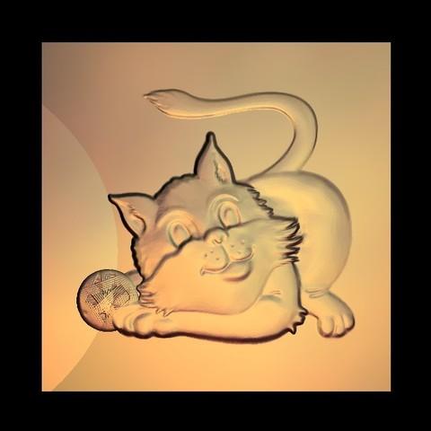 Free 3D printer designs cute little cat, 3Dprintablefile