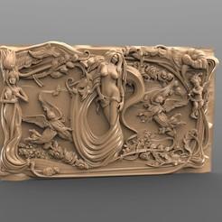 Imprimir en 3D gratis Hermosa princesa desnuda con delfines, 3Dprintablefile