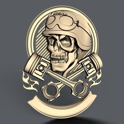 Free 3D printer model skull with pistons bike biker cnc art , 3Dprintablefile