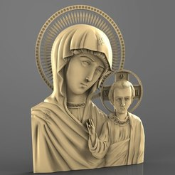 Download free 3D printing designs Religious icon mary and jesus cnc art 3D model, 3Dprintablefile