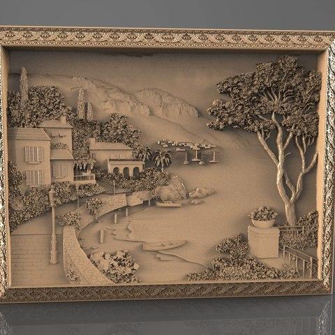 Descargar modelos 3D gratis vista al lago con casa edificio cnc art, 3Dprintablefile