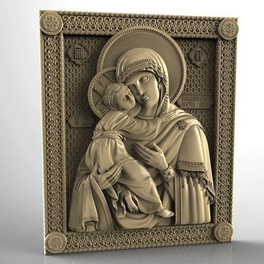 Download free 3D printer templates Religious icon cnc art 3D model vladimirskaja, 3Dprintablefile