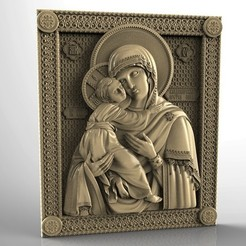 Download free 3D printer templates Religious icon cnc art 3D model vladimirskaja, 3Dprintablefile