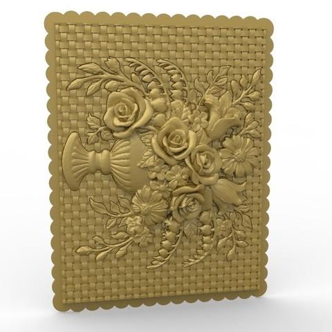 Télécharger fichier impression 3D gratuit plantes fleurs cadre art mur de renaissance, 3Dprintablefile