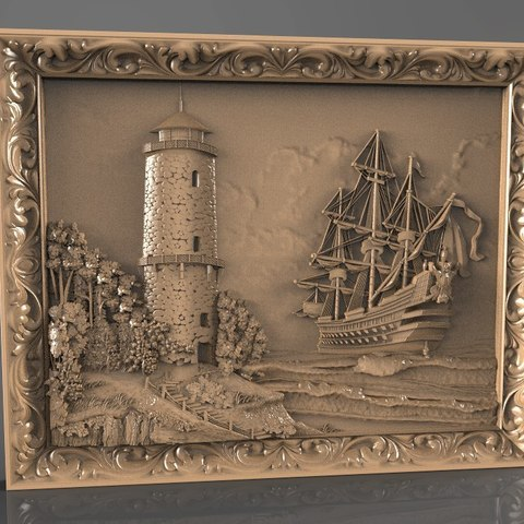 Télécharger fichier STL gratuit bateau et une tour cnc art, 3Dprintablefile