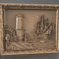 Free 3D printer model ship boat and a tower cnc art, 3Dprintablefile