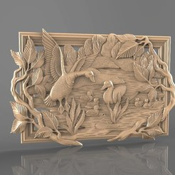 Free 3D printer designs Duck family mother father babies in lake art cnc, 3Dprintablefile