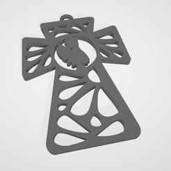 Download 3D printer designs Angel cross christening girl key rings, jdanaisp