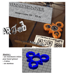 Plan imprimante 3D art3d-clb HAND SPINNER géométrique à 3 billes, art3d