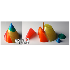 Download free 3D printing templates art3d-clb cone of revolution, conical sections, art3d