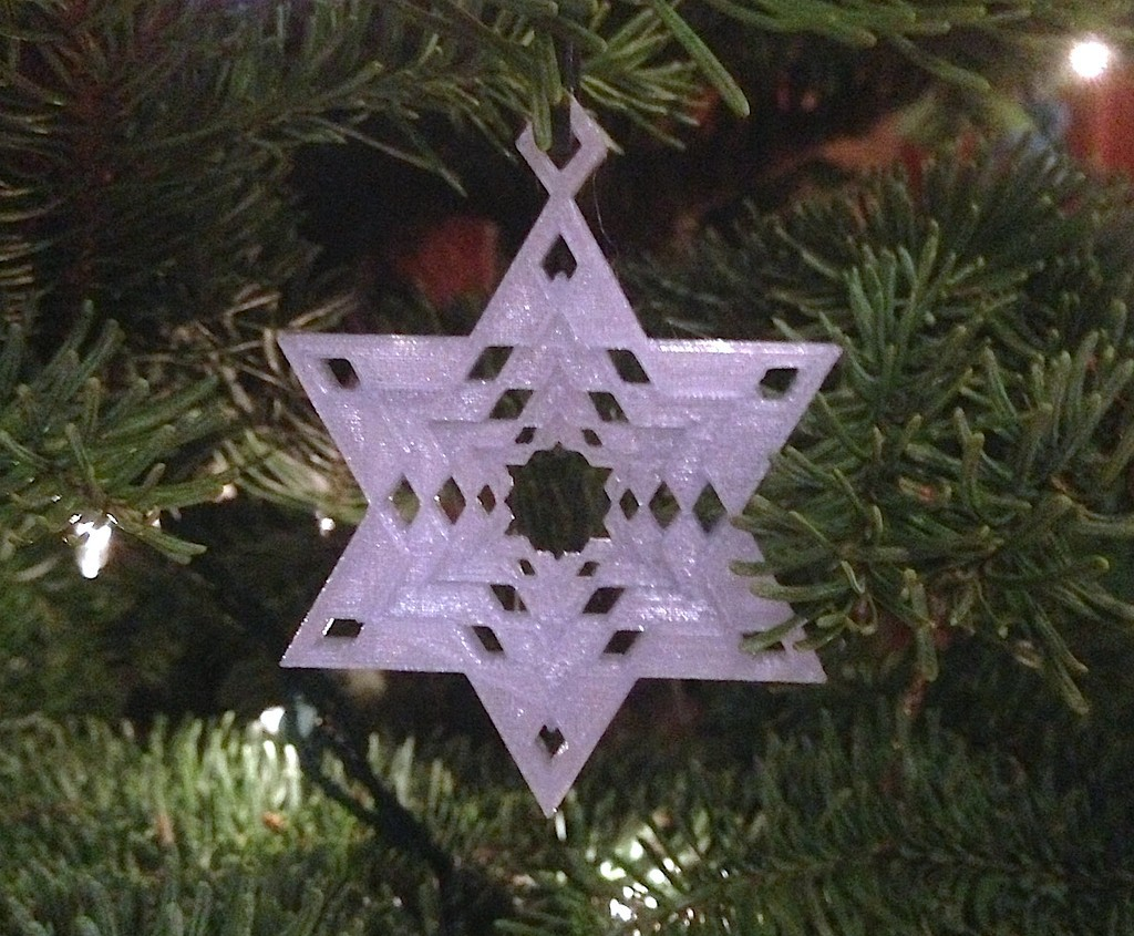 StarOrnament2_display_large.jpg Télécharger fichier STL gratuit Flocon de neige Étoile de l'arbre David Ornement d'ornement • Design imprimable en 3D, Cilshell