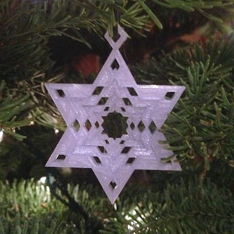 Download free STL Snowflake Star of David Tree Ornament, Cilshell