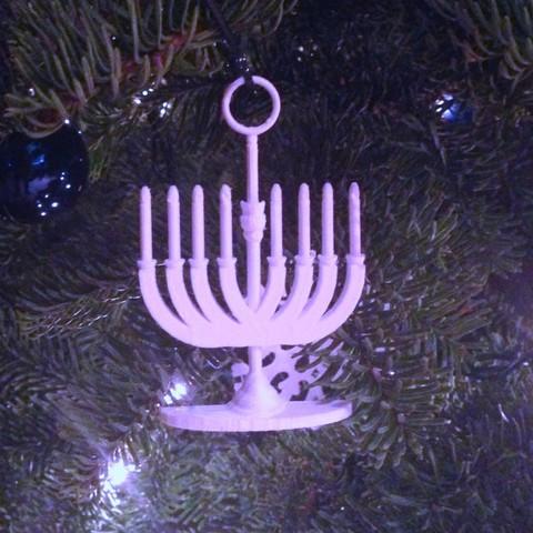 menorahb_display_large.jpg Download free STL file Menorah Holiday Tree Ornament • 3D print model, Cilshell