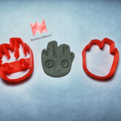 Download 3D printing models Baby Groot Head Cookie Cutter , markov3dsvet