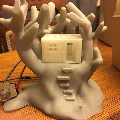 Télécharger fichier STL gratuit Lampe simple de maison d'arbre, Pza4Rza