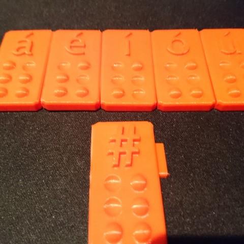 Télécharger fichier 3D gratuit Braille -Voyelles avec tilde + #, CJLeon