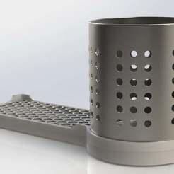 Escurridor.JPG Download free STL file Kitchen Spongeholder & Ikea Cutlery Dryer Holder • Model to 3D print, CMS