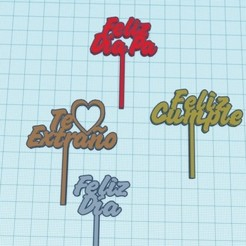 Sin título.jpg Download STL file mini topper various cakes • 3D printing design, AICRAG3D