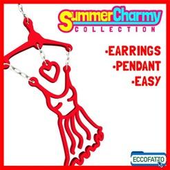 Orecchini Estate-01.jpg Download STL file SUMMERCHARMY RED DRESS- EARRINGS - PENDANT - CHARM - JEWEL • 3D print model, ECCOFATTO