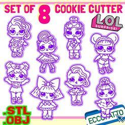 LOL-01.jpg Download OBJ file File STL - Set of 8 LOL SURPRISE - Cookie cutters - • 3D printer template, ECCOFATTO