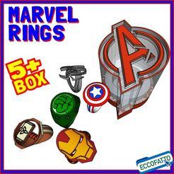 MARVEL-01.jpg Download STL file MARVEL RINGS + Avengers BOX - Set of 5 rings  • 3D printable model, ECCOFATTO