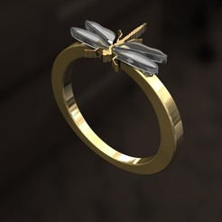 LLL1.jpg Download 3DS file Dragon-fly Ring • 3D printer template, danu_t94