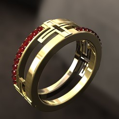 Download 3D printer designs Cross Ring with Diamonds, danu_t94
