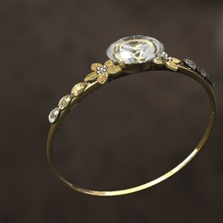 3D printer files 2 Flower ring with diamonds, danu_t94