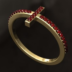 SS3.jpg Download 3DS file Cross Ruby Ring • Model to 3D print, danu_t94