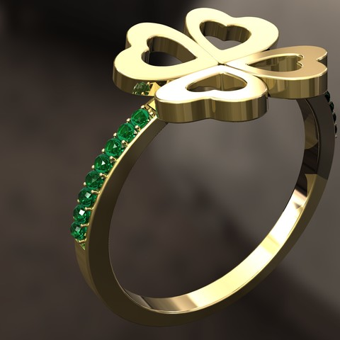 3D printer models 4 Leaf clover Ring, danu_t94