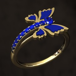 STL file Butterfly Ring, danu_t94