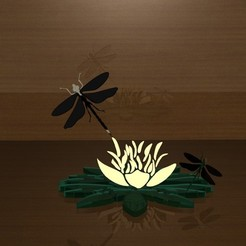 STL water lily with dragonfly s, danu_t94