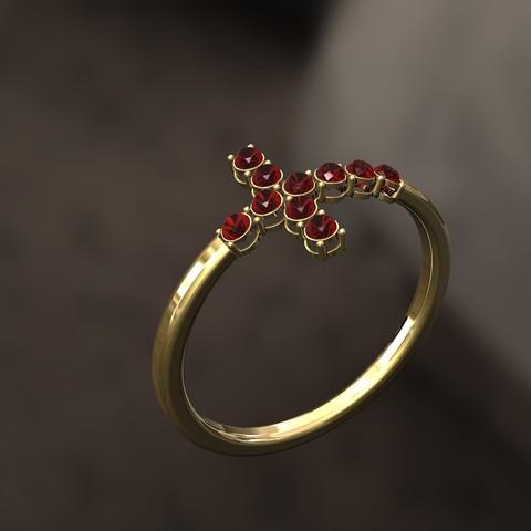 Télécharger fichier imprimante 3D Bague croix avec diamants en pendentif, danu_t94
