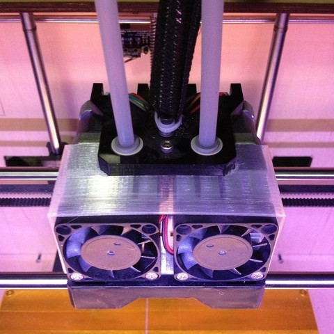 Download free STL files Dual Extruder Fan Shroud, Morcelkin
