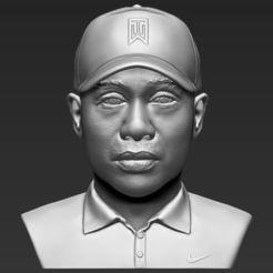 Download 3D printer files Tiger Woods bust 3D printing ready stl obj, PrintedReality