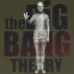 STL Sheldon Big Bang Theory 3D impression 3D prêt à l'emploi stl obj, PrintedReality