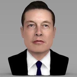 3D printer files Elon Musk bust ready for full color 3D printing, PrintedReality