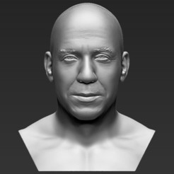Download 3D printing templates Vin Diesel bust 3D printing ready stl obj formats, PrintedReality