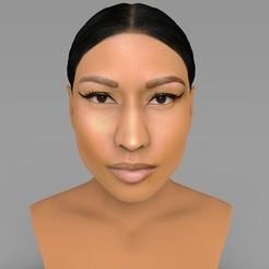 Download STL Nicki Minaj bust ready for full color 3D printing, PrintedReality