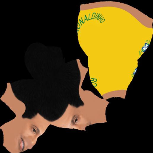 Ronaldinho_bust.png Download STL file Ronaldinho bust ready for full color 3D printing • 3D print model, PrintedReality