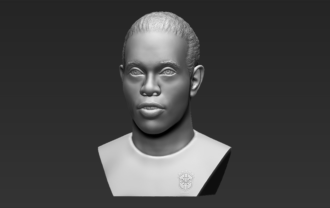 2.jpg Download STL file Ronaldinho bust 3D printing ready stl obj formats • 3D printable template, PrintedReality